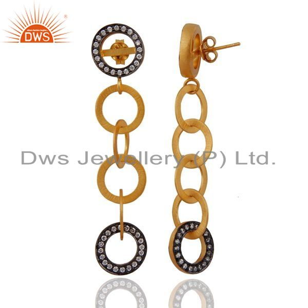 Exporter 18k Yellow Gold Over Sterling SIlver Cubic Zirconia Six Circle Dangle Earrings