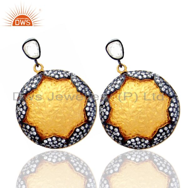 Exporter 24K Yellow Gold Plated Sterling Silver Crystal CZ Polki Disc Dangle Earrings