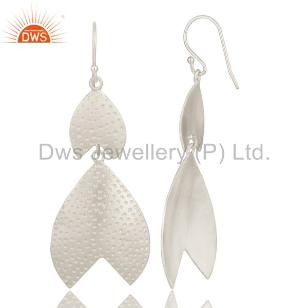 Exporter Genuine 925 Sterling Silver Textured Angel Wing Dangle Earrings