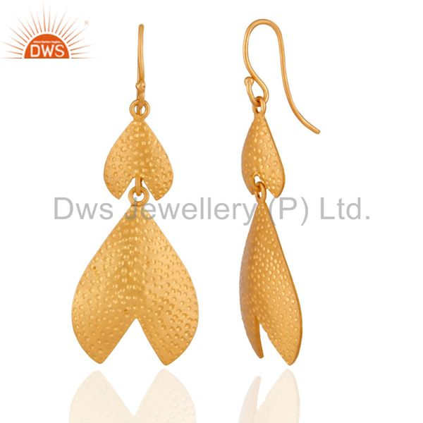 Exporter Modern Indian Hand Hammered Gold Plated Sterling Silver Earrings Designs Jewelry
