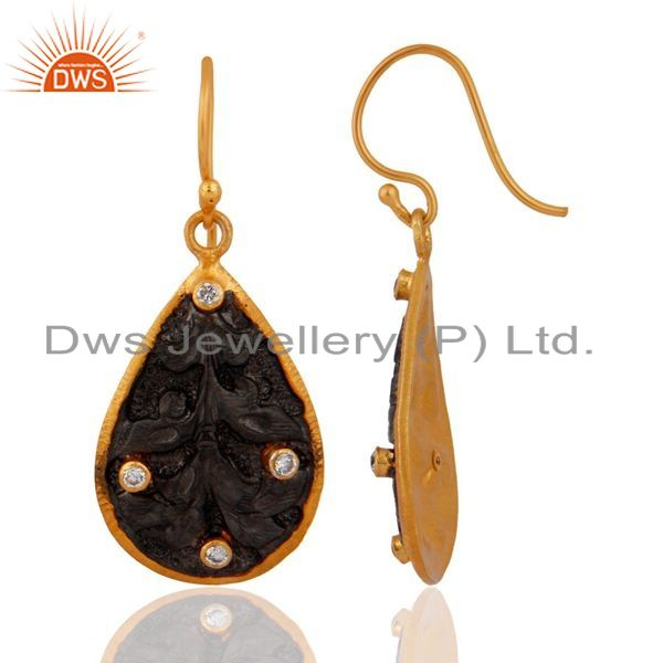 Exporter Hand Hammered  Oxidized Sterling Silver Gold Plated Cubic Zirconia Drop Earring
