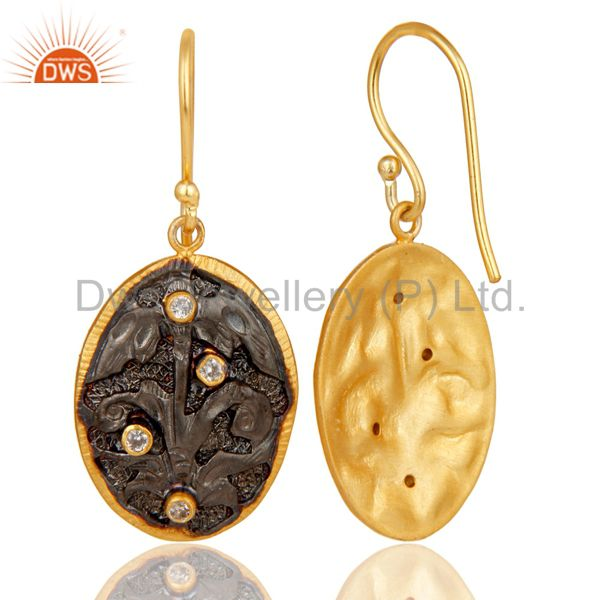 Exporter 24K Yellow Gold Plated & Oxidized Brass Cubic Zirconia Designer Earrings