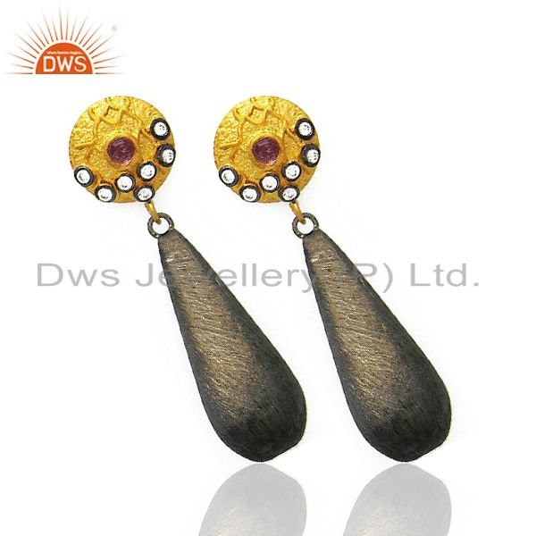 Exporter 14K Yellow Gold Plated And Oxidized Sterling Silver White Zircon Dangle Earrings