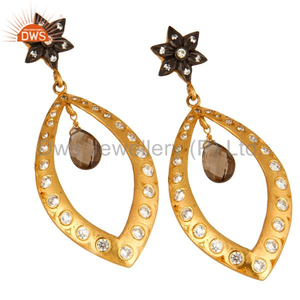 Exporter Gold Plated 925 Sterling Silver Smoky Quartz Gemstone Drop Party Wear Earrings