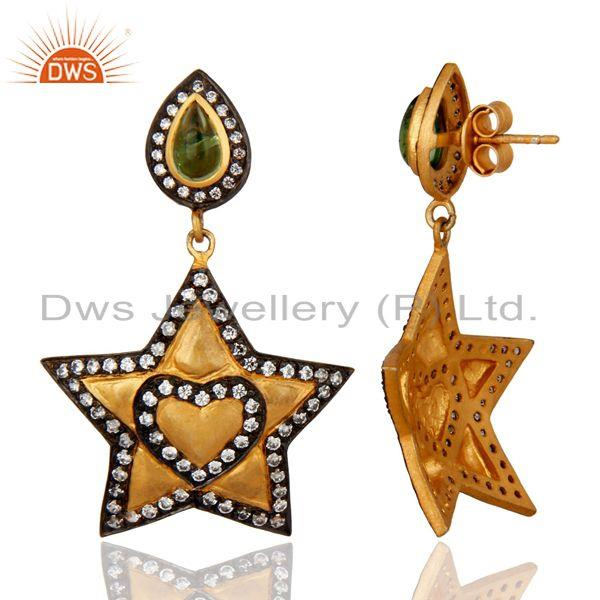 Exporter 925 Sterling Silver 18K Gold Plated Green Tourmaline Gemstone Earrings Jewelry
