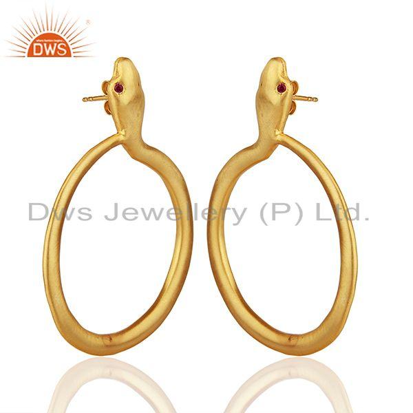 Exporter 22K Yellow Gold Plated Sterling Silver Red CZ Snake Design Dangle Earrings