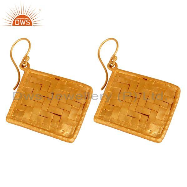 Exporter 24K Gold Plated Sterling Silver Matte Finished Celtic Creativity Woven Earrings