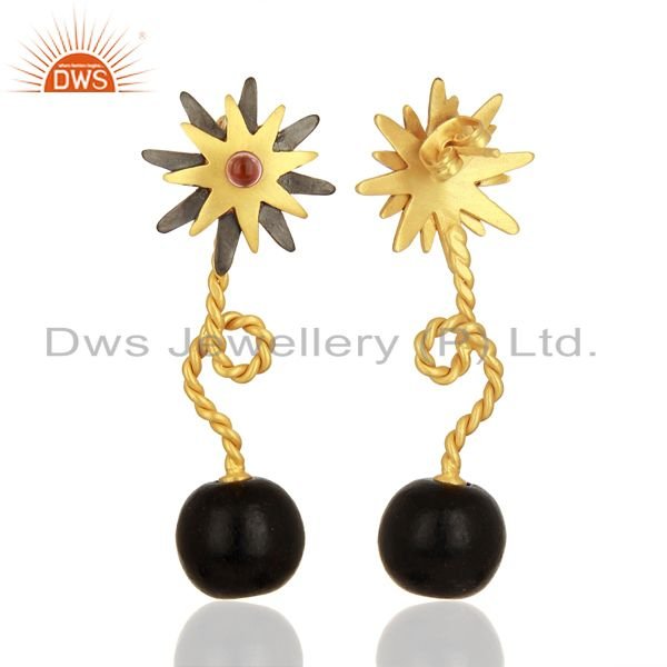 Exporter 22K Yellow Gold Plated And Oxidized Brass CZ Twisted Wire Post Stud Earrings