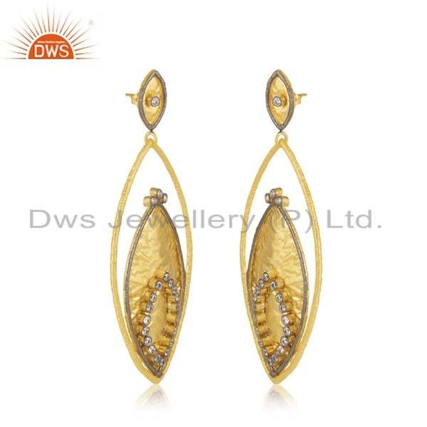 Exporter 24K Yellow Gold Plated Brass Cubic Zirconia Womens Fashion Dangle Earrings