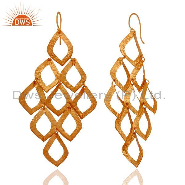 Exporter Hand Hammered 925 Sterling Silver Chandelier Earring With 24-karat Gold Plated