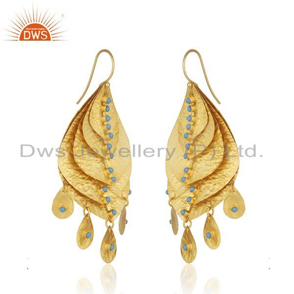 Exporter Handmade Gold Plated 925 Silver Turquoise Stone Leaf Earrings Supplier