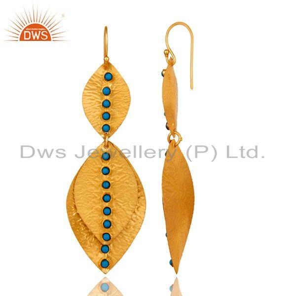 Exporter 24K Yellow Gold Plated Sterling Silver Turquoise Petals Designer Dangle Earrings