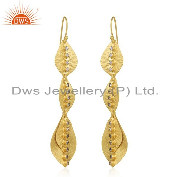 Exporter White Zircon Gold Plated Sterling Silver Leaf Earrings Manufacturer