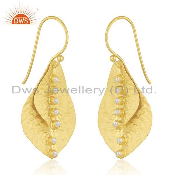 Exporter Leaf Design Handmade Gold Plated 925 Silver Pearl Earring Wholesale