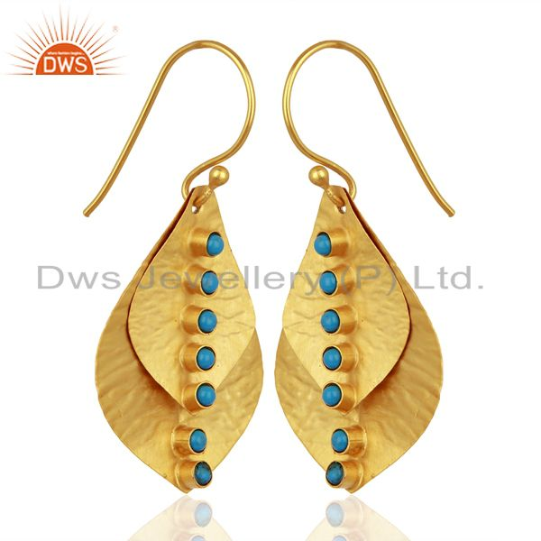 Exporter 18K Yellow Gold Plated Sterling Silver Turquoise Hammered Petals Dangle Earrings