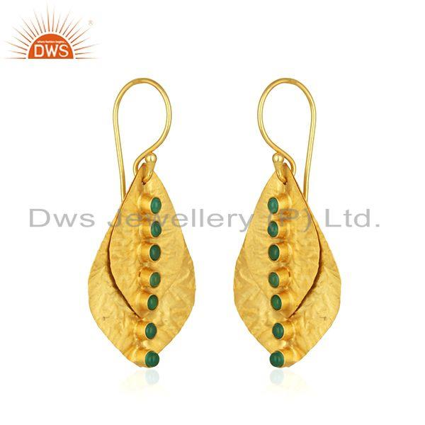 Exporter Leaf Design Gold Plated Sterling Silver Green Onyx Gemstone Earrings