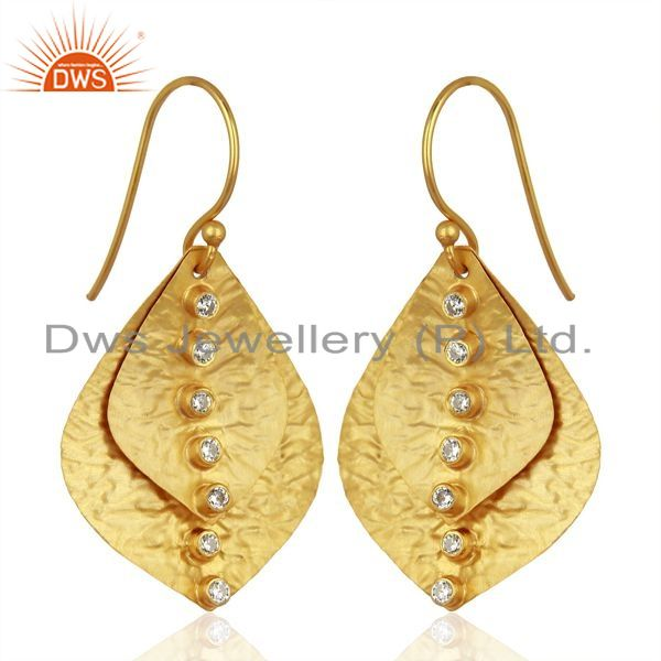 Exporter Leaf Designer Gold Plated Silver CZ Earrings Wholesale Jewelry