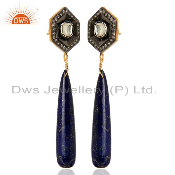 Exporter 18K Yellow Gold Plated Sterling Silver Lapis Lazuli Smooth Drop Earrings With CZ