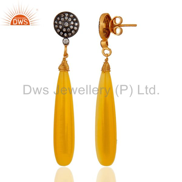 Exporter 18k Gold Over Sterling Silver Yellow Moonstone Polished Gemstone Drop Earrings