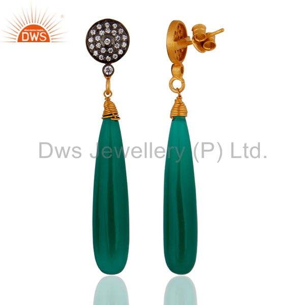 Exporter White Zircon & Green Onyx Gemstone 925 Silver Gold Plated Graceful Look Earrings