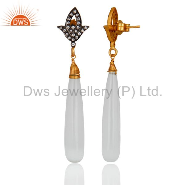 Exporter 18k Gold Over 925 Sterling Silver White Moonstone Polished Drop Dangle Earrings