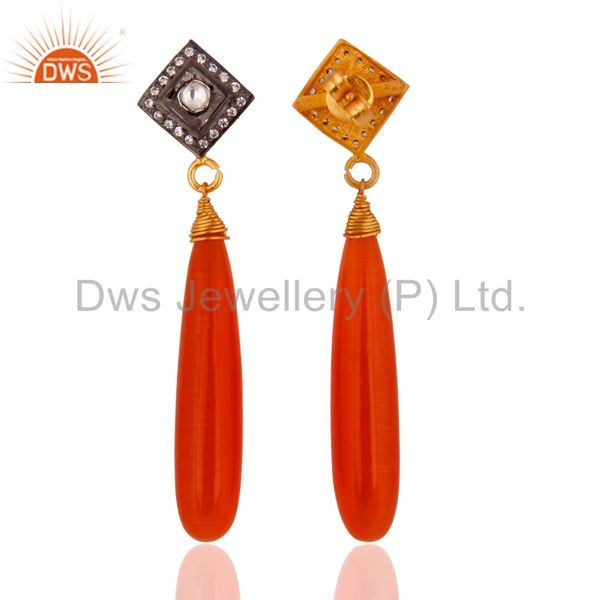 Exporter High polished Gemstone Peach Moonstone CZ Gold-plated Sterling Silver Earrings