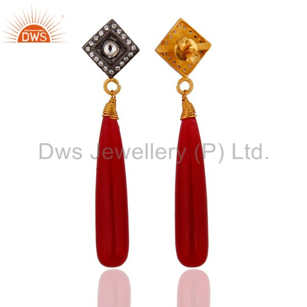 Exporter Natural Red Aventurine & Crystal Quartz 925 Silver Gold Plated Dangle Earrings