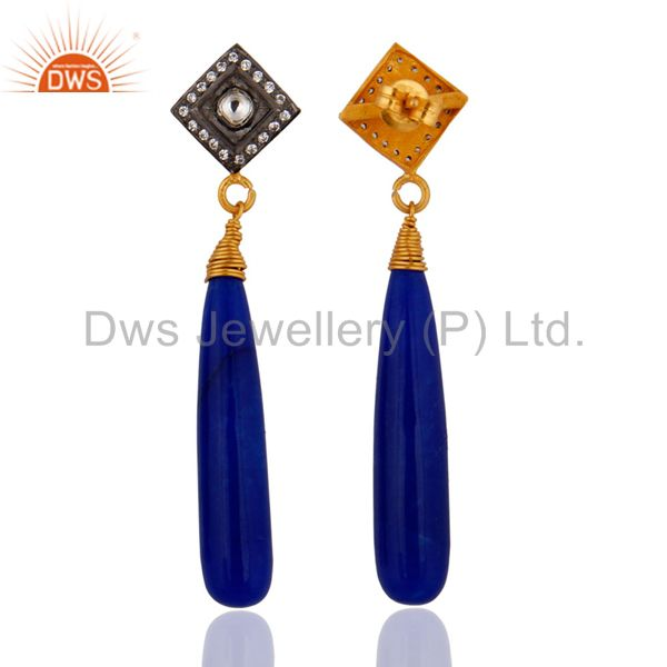 Exporter Pave White Cubic Zirconia & Blue Aventurine Gold Plated Sterling Silver Earring