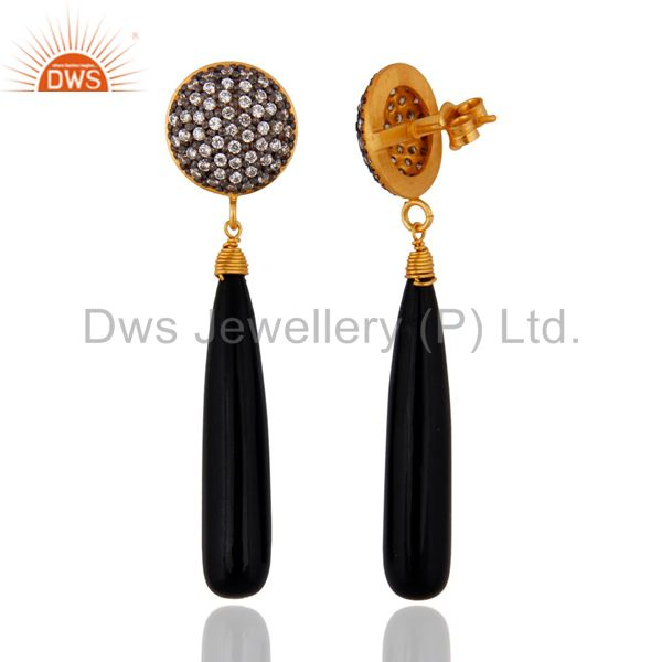 Exporter Sterling Silver Black Onyx Earrings With 18k Gold Plated White Zircon Jewelry
