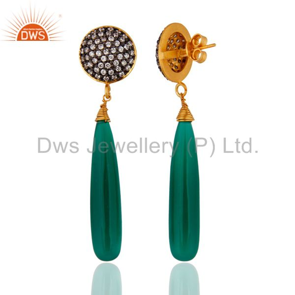 Exporter 18Kt Gold Plated Green Onyx Teardrop Earrings Made in Sterling Silver Jewelry