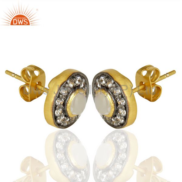Exporter 18k Gold Plated Rainbow Moonstone And Zircon Stud Brass Earrings