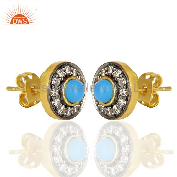 Exporter 18K Yellow Gold Plated Turquoise And Zircon Halo Stud Brass Earrings