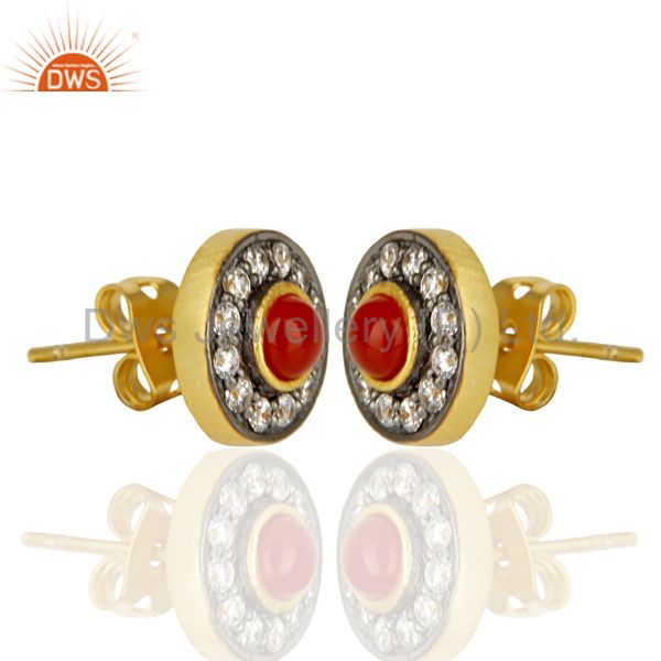 Exporter 18K Yellow Gold Plated Red Onyx & White Zirconia Halo Stud Brass Earrings