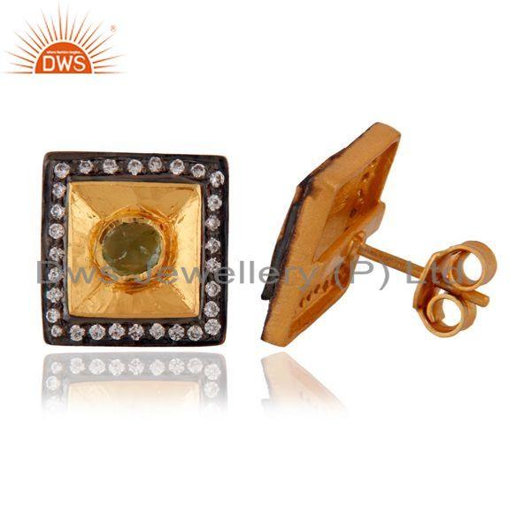 Exporter 18kt Yellow Gold Plated Sterling SIlver Tourmaline & Cubic Zirconia Stud Earring