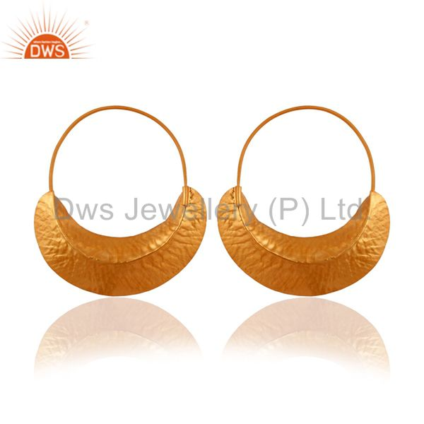 Exporter Handcrafted 925 Sterling Silver 22K Gold Plated Fulani Zircon CZ Hoop Earrings
