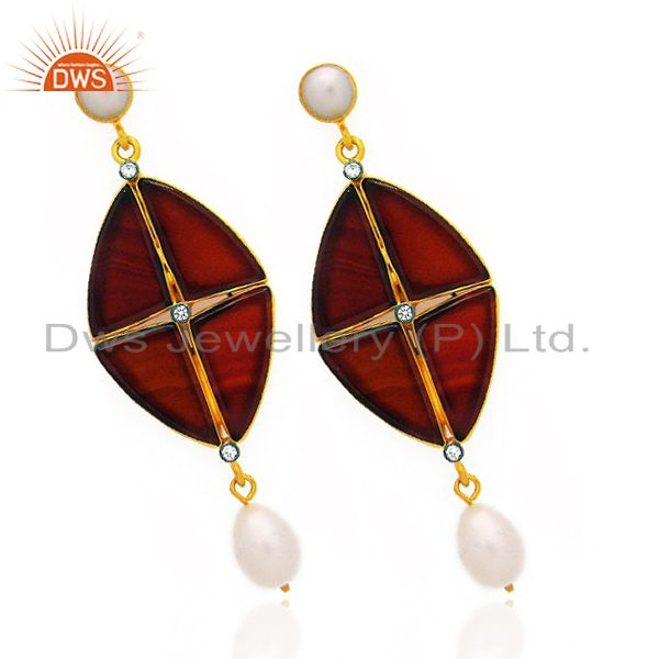 Exporter 18K Yellow Gold Plated Sterling Silver Red Onyx And Pearl Dangle Earrings