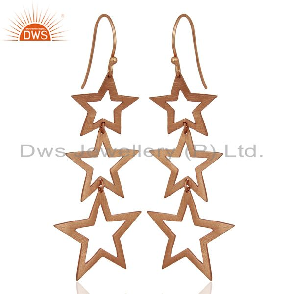 Exporter Rose Gold Plated Star Designer Dangle Earrings Jewelry Manufacturer