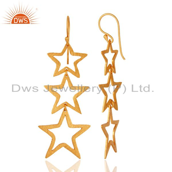 Manufacturer of 925 Sterling Silver Star Designs Handmade Dangle Earrings With 18K Gold Plated