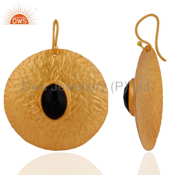 Exporter Natural Black Onyx Gemstone Dangle Earring In Sterling Silver With 18k Gold Plat