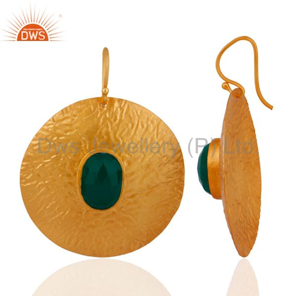 Exporter 925 Sterling Silver 14k Yellow Gold Plated Green Onyx Gemstone Circle Earrings