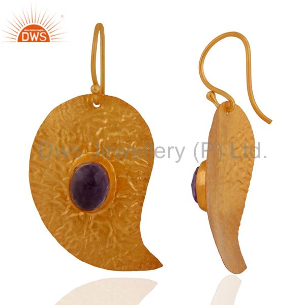 Exporter Handmade 925 Sterling Silver 18K Yellow Gold Plated Amethyst Gemstone Earrings