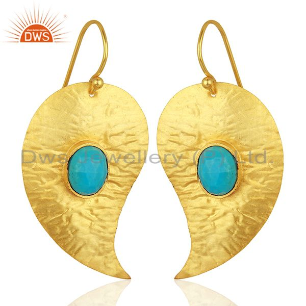 Exporter Textured Gold Plated Silver Turquoise Gemstone Earrings Manufacturer