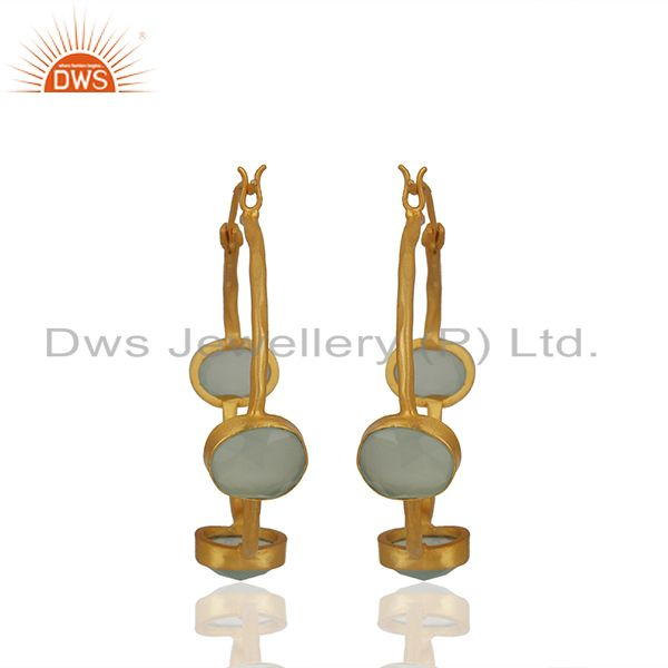 Exporter Aqua Chalcedony Gemstone Gold Plated Brass Hoop Earrings Wholesale