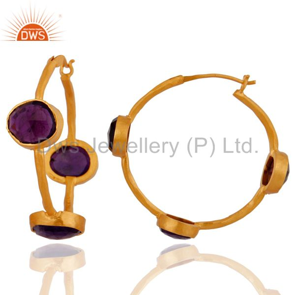 Exporter Amethyst Gemstone Hoop Earrings in Sterling Silver with 22K Gold Plated Jewelry
