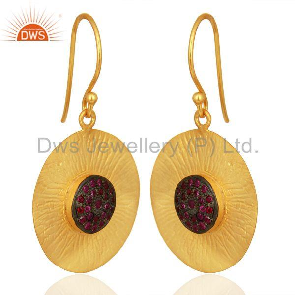 Exporter Natural Ruby Gemstone Gold Plated 925 Silver Designer Earring Supplier