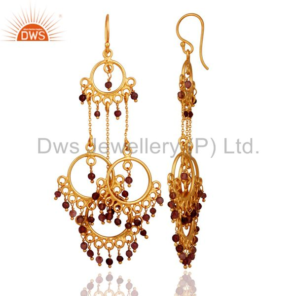 Exporter Gold Plated Sterling Silver Gemstone Tourmaline Bridal Chandelier Dangle Earring