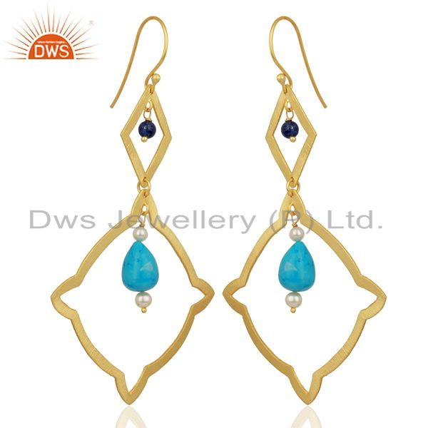 Exporter Pearl Turquoise Long Dangle Boutique 14K Gold Plated 92.5 Silver Earring