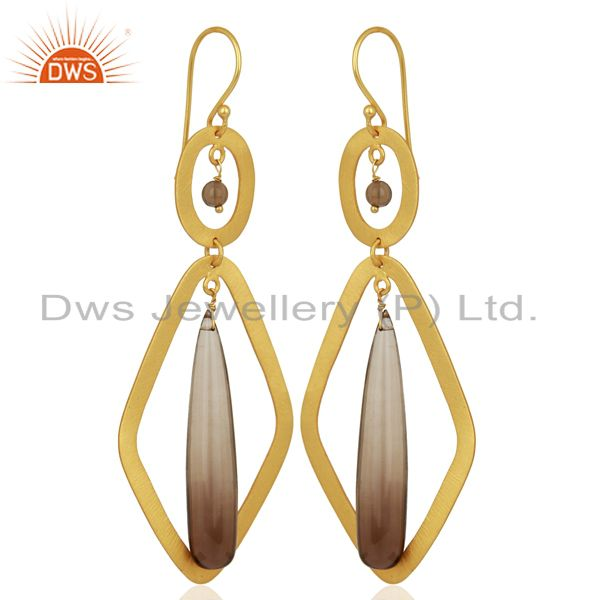 Exporter Smoky Quartz Gemstone Gold Plated Fashion Earring Supplier
