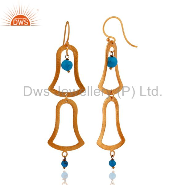 Exporter 18kt Gold Plated Handcrafted Sterling Silver Turquoise Matte Finish Earrings
