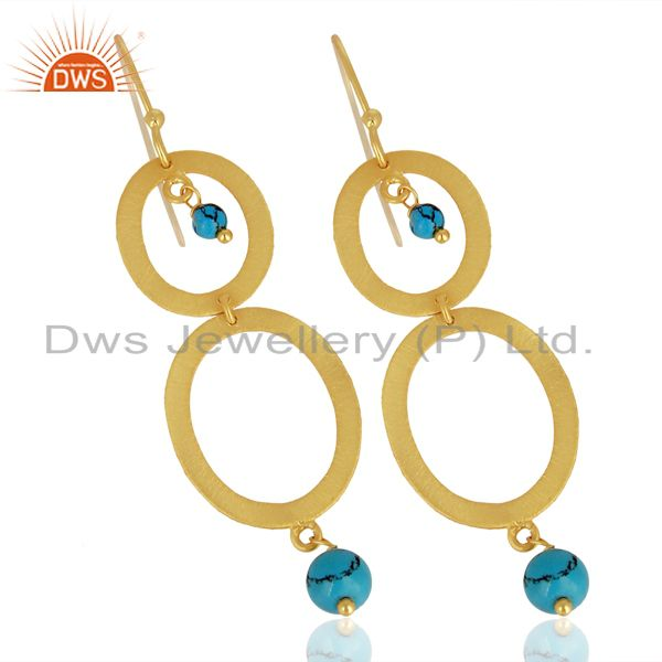 Exporter Brushed 22K Yellow Gold Plated Sterling Silver Turquoise Gemstone Dangle Earring